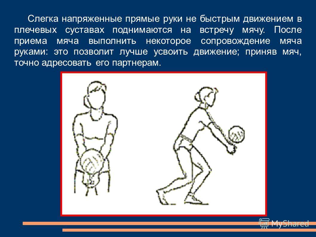 Слегка напряженные прямые руки не быстрым движением в плечевых суставах поднимаются на встречу мячу. После приема мяча выполнить некоторое сопровождение мяча руками: это позволит лучше усвоить движение; приняв мяч, точно адресовать его партнерам.