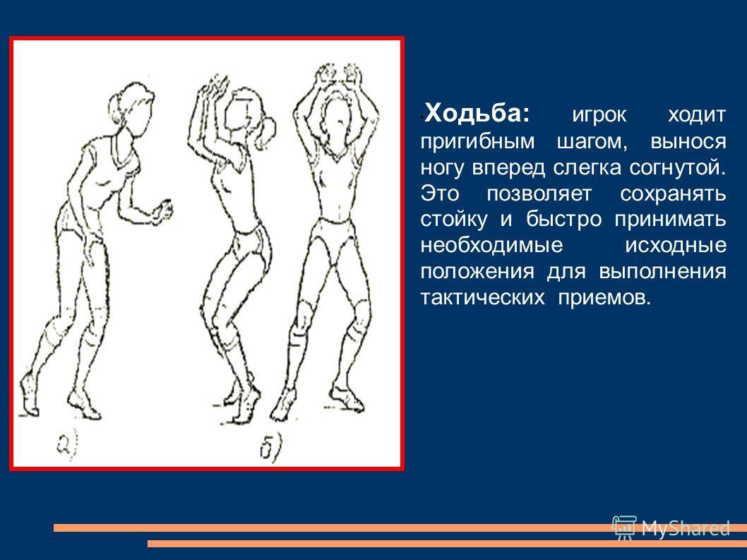 Ходьба: игрок ходит пригибным шагом, вынося ногу вперед слегка согнутой. Это позволяет сохранять стойку и быстро принимать необходимые исходные положения для выполнения тактических приемов.