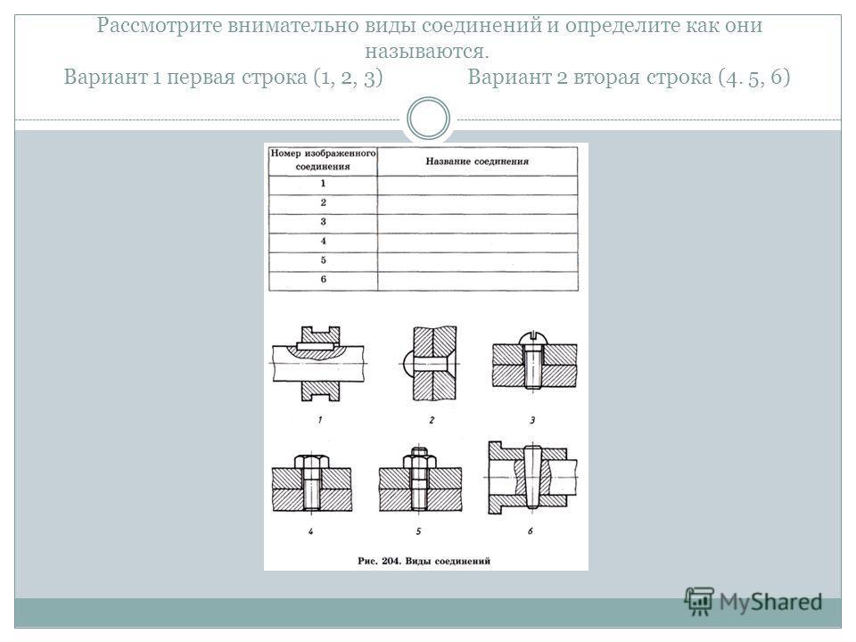 Рассмотрите внимательно виды соединений и определите как они называются. Вариант 1 первая строка (1, 2, 3) Вариант 2 вторая строка (4. 5, 6)