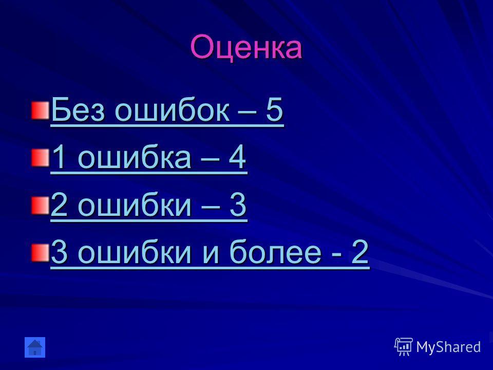 Оценка Без ошибок – 5 Без ошибок – 5 1 ошибка – 4 1 ошибка – 4 2 ошибки – 3 2 ошибки – 3 ошибки и более - 2 3 ошибки и более - 2