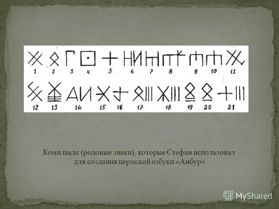 Коми пасы (родовые знаки), которые Стефан использовал для создания пермской азбуки «Анбур»
