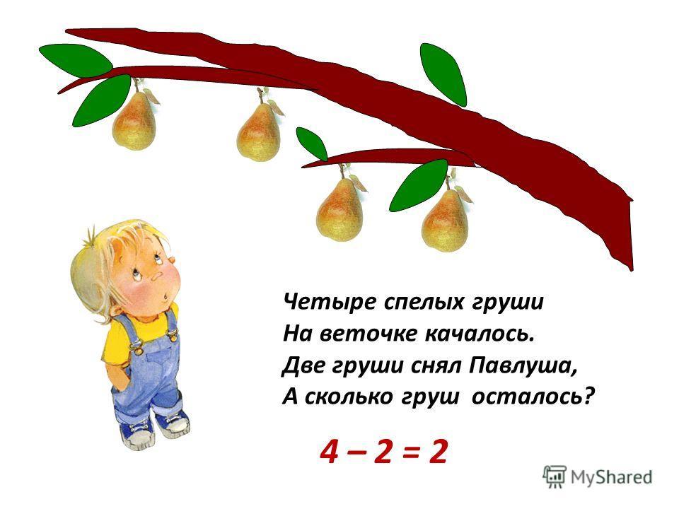 Четыре спелых груши На веточке качалось. Две груши снял Павлуша, А сколько груш осталось? 4 – 2 = 2
