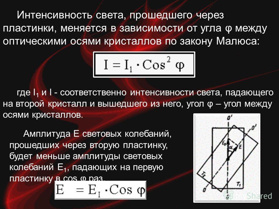 Интенсивность света, прошедшего через пластинки, меняется в зависимости от угла φ между оптическими осями кристаллов по закону Малюса: где I 1 и I - соответственно интенсивности света, падающего на второй кристалл и вышедшего из него, угол φ – угол м