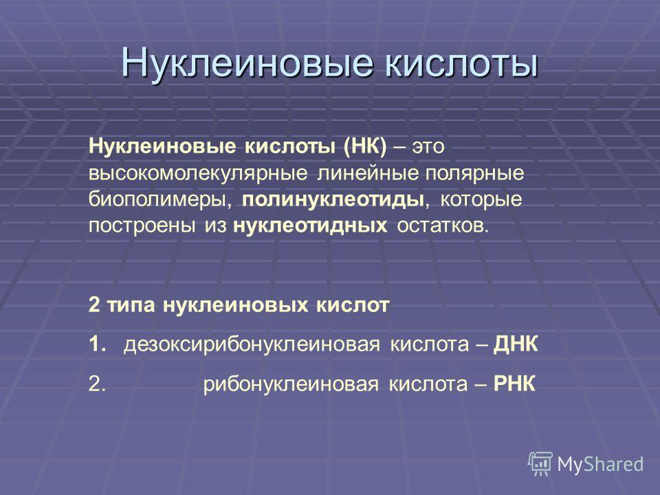 Нуклеиновые кислоты Нуклеиновые кислоты (НК) – это высокомолекулярные линейные полярные биополимеры, полинуклеотиды, которые построены из нуклеотидных остатков. 2 типа нуклеиновых кислот 1. дезоксирибонуклеиновая кислота – ДНК 2. рибонуклеиновая кисл
