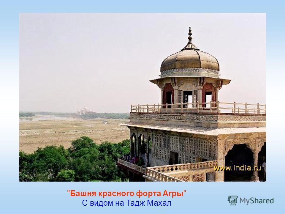 Башня красного форта Агры С видом на Тадж Махал