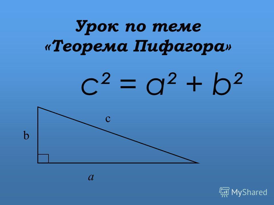 Урок по теме «Теорема Пифагора» c² = a² + b² b с а
