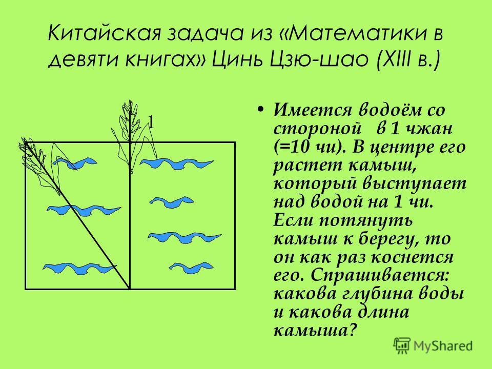 Китайская задача из «Математики в девяти книгах» Цинь Цзю-шао (XIII в.) Имеется водоём со стороной в 1 чжан (=10 чи). В центре его растет камыш, который выступает над водой на 1 чи. Если потянуть камыш к берегу, то он как раз коснется его. Спрашивает