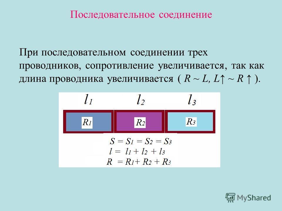 Последовательное соединение При последовательном соединении трех проводников, сопротивление увеличивается, так как длина проводника увеличивается ( R ~ L, L ~ R ).