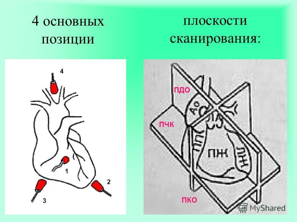 плоскости сканирования: ПДО ПЧК ПКО 4 основных позиции 1 2 3 4