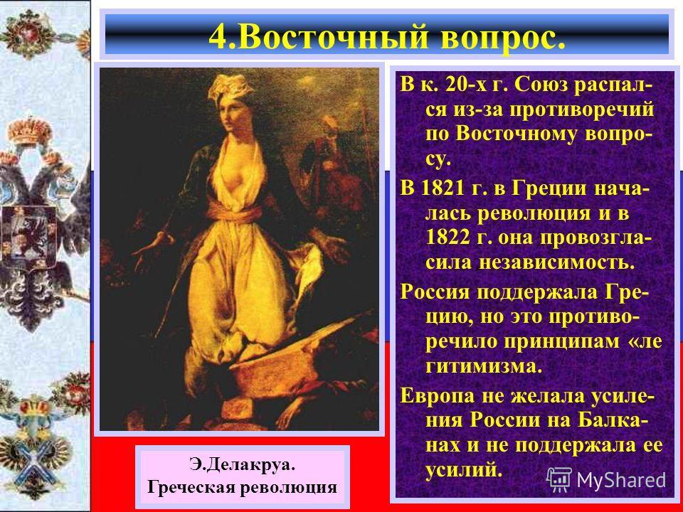 В к. 20-х г. Союз распал- ся из-за противоречий по Восточному вопро- су. В 1821 г. в Греции нача- лась революция и в 1822 г. она провозгла- сила независимость. Россия поддержала Гре- цию, но это противо- речило принципам «ле гитимизма. Европа не жела