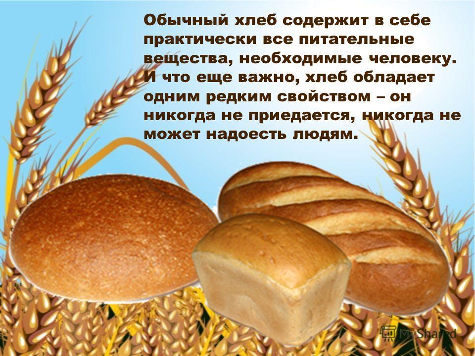 Ученые полагают, что впервые хлеб появился на земле свыше пятнадцати тысяч лет назад. Обычный хлеб содержит в себе практически все питательные вещества, необходимые человеку. И что еще важно, хлеб обладает одним редким свойством – он никогда не приед