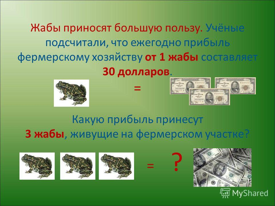 Жабы приносят большую пользу. Учёные подсчитали, что ежегодно прибыль фермерскому хозяйству от 1 жабы составляет 30 долларов. = Какую прибыль принесут 3 жабы, живущие на фермерском участке? = ?