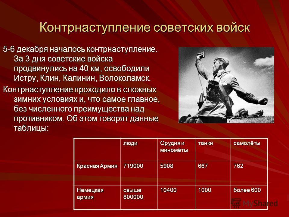 Контрнаступление советских войск 5-6 декабря началось контрнаступление. За 3 дня советские войска продвинулись на 40 км, освободили Истру, Клин, Калин