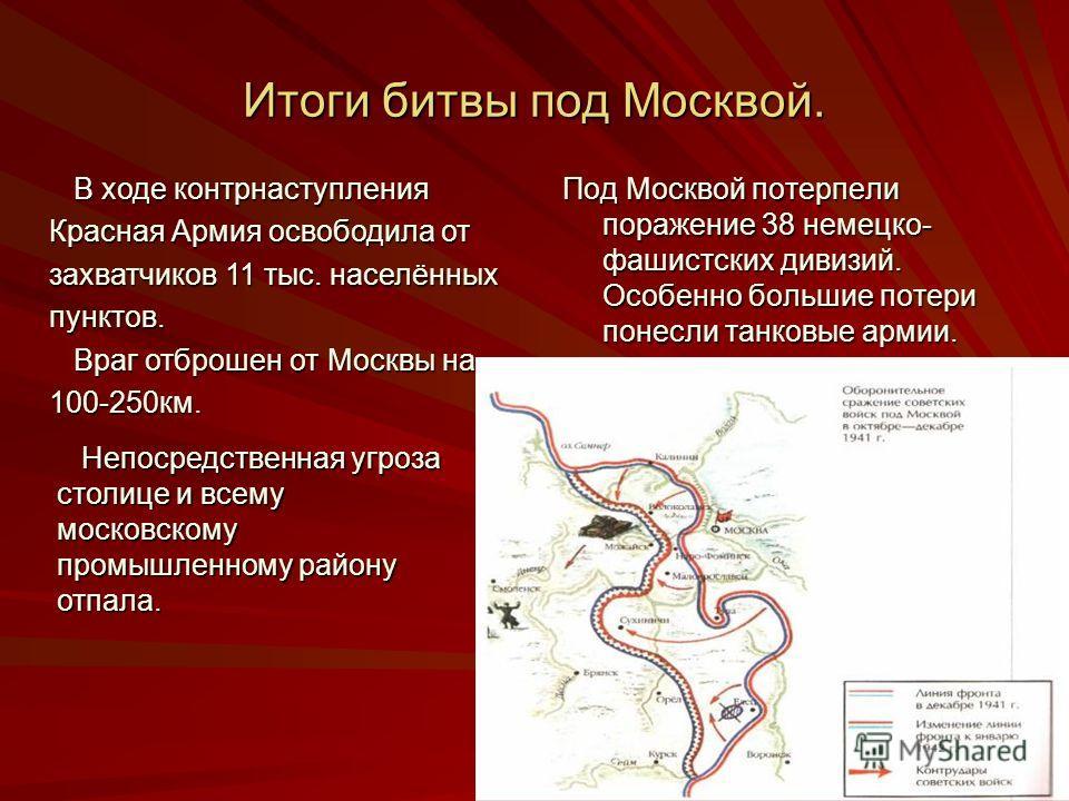 Итоги битвы под Москвой. Под Москвой потерпели поражение 38 немецко- фашистских дивизий. Особенно большие потери понесли танковые армии. В ходе контрн