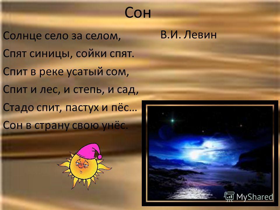 Сон В.И. Левин Солнце село за селом, Спят синицы, сойки спят. Спит в реке усатый сом, Спит и лес, и степь, и сад, Стадо спит, пастух и пёс… Сон в страну свою унёс.