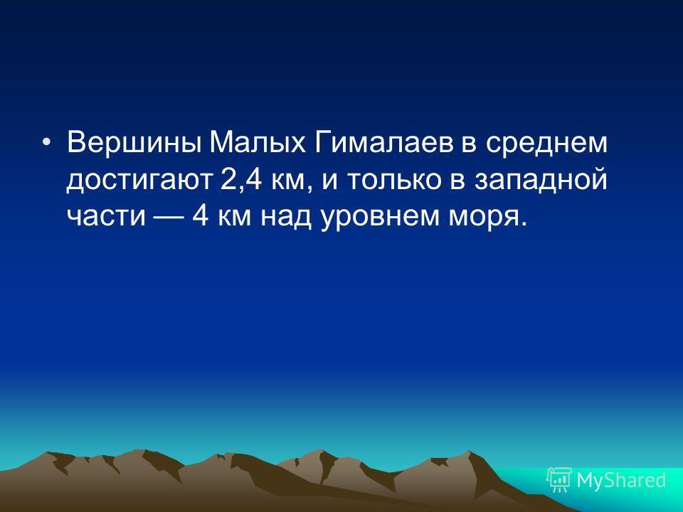 Вершины Малых Гималаев в среднем достигают 2,4 км, и только в западной части 4 км над уровнем моря.