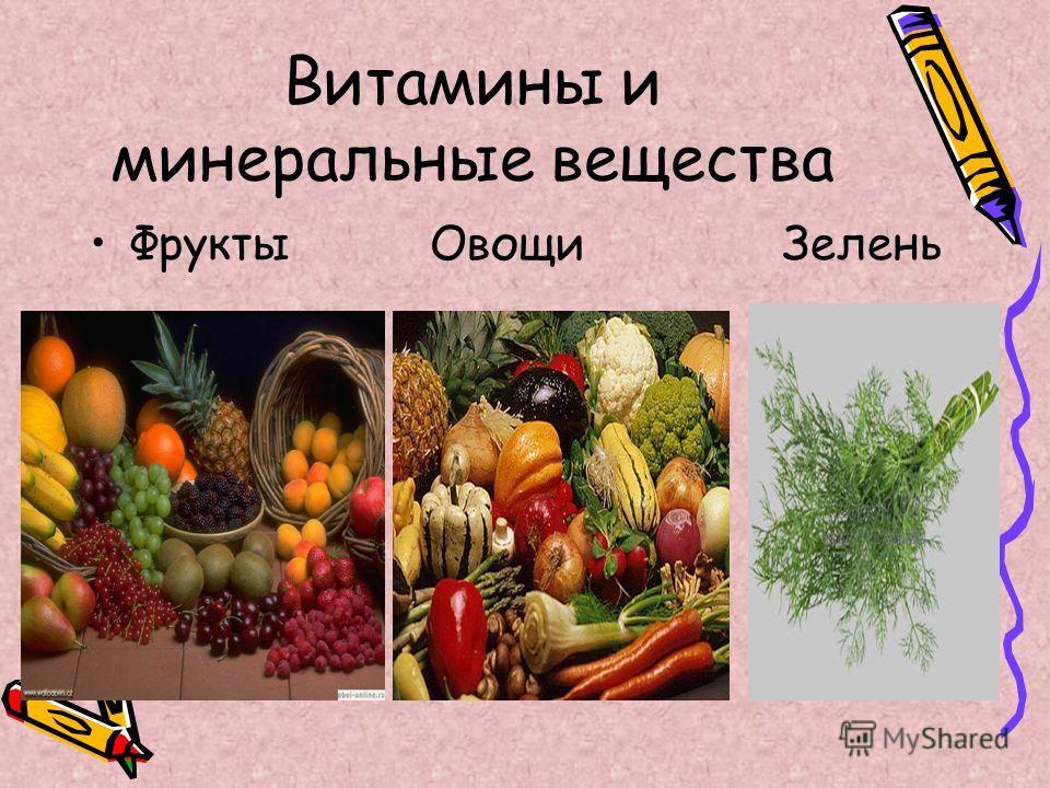 Витамины и минеральные вещества Фрукты Овощи Зелень
