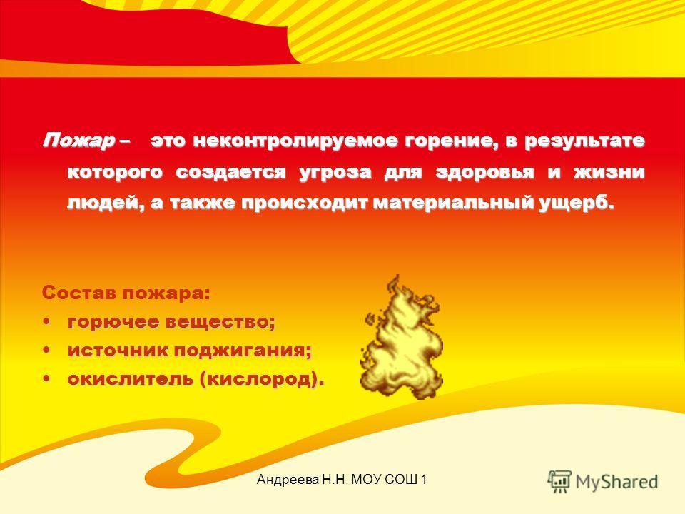 Андреева Н.Н. МОУ СОШ 1 Пожар – это неконтролируемое горение, в результате которого создается угроза для здоровья и жизни людей, а также происходит материальный ущерб. Состав пожара: горючее вещество;горючее вещество; источник поджигания;источник под