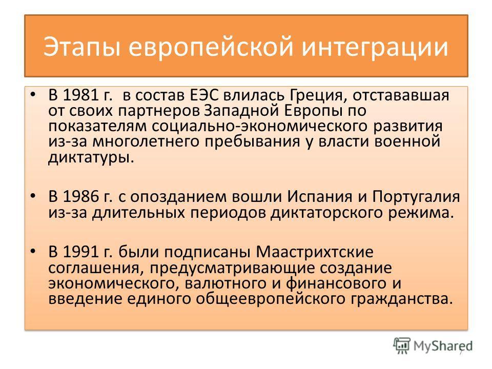 Этапы европейской интеграции В 1981 г. в состав ЕЭС влилась Греция, отстававшая от своих партнеров Западной Европы по показателям социально-экономического развития из-за многолетнего пребывания у власти военной диктатуры. В 1986 г. с опозданием вошли