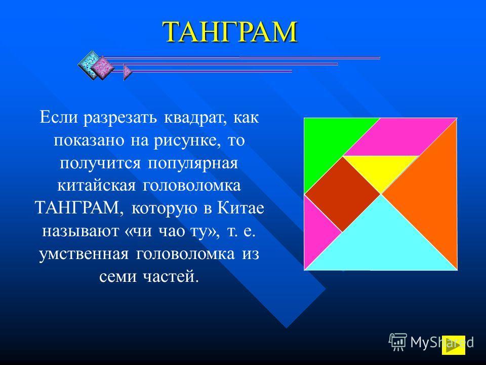 ТАНГРАМ Если разрезать квадрат, как показано на рисунке, то получится популярная китайская головоломка ТАНГРАМ, которую в Китае называют «чи чао ту», т. е. умственная головоломка из семи частей.