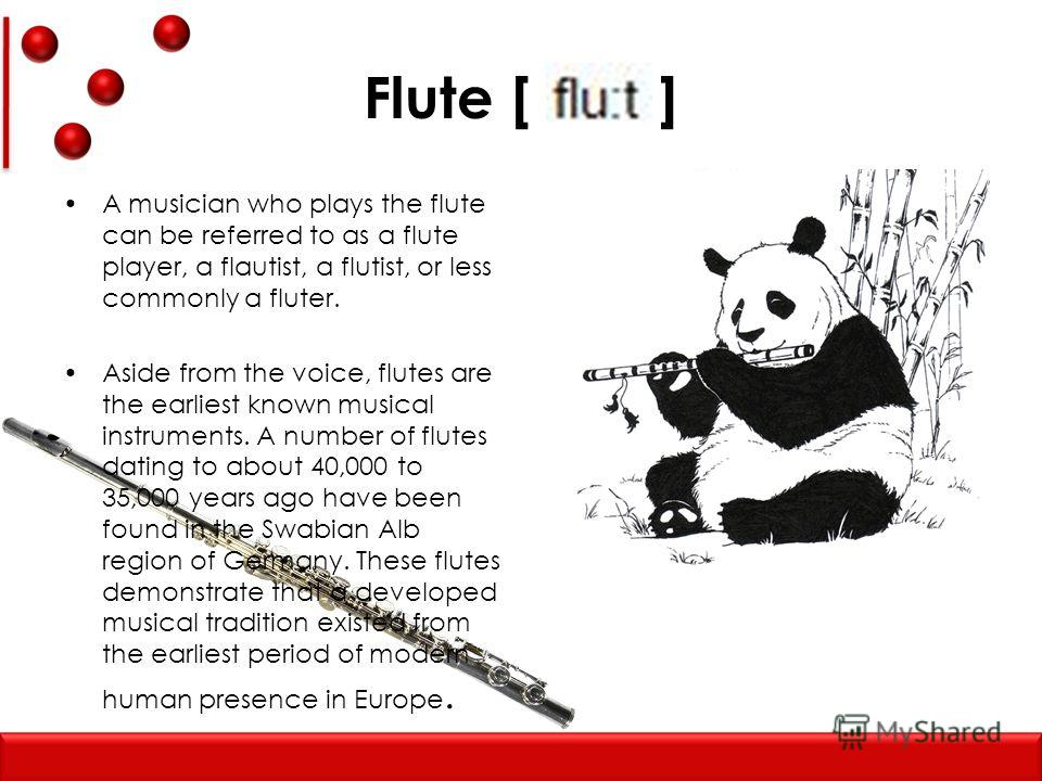 Flute [ ] A musician who plays the flute can be referred to as a flute player, a flautist, a flutist, or less commonly a fluter. Aside from the voice, flutes are the earliest known musical instruments. A number of flutes dating to about 40,000 to 35,