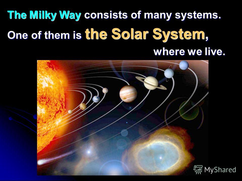 The Milky Way consists of many systems. One of them is the Solar System, where we live. where we live.