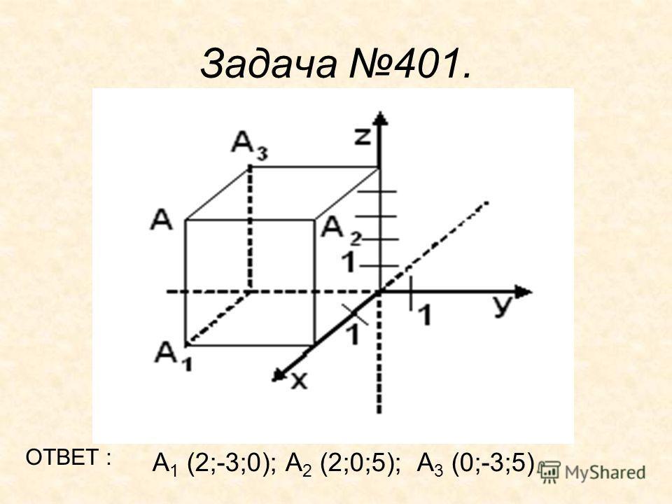 Задача 401. А 1 (2;-3;0); А 2 (2;0;5); А 3 (0;-3;5) ОТВЕТ :