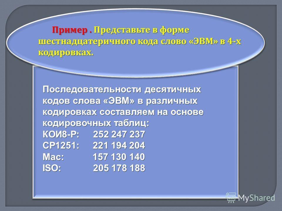 Пример. Представьте в форме шестнадцатеричного кода слово « ЭВМ » в 4- х кодировках. Последовательности десятичных кодов слова «ЭВМ» в различных кодировках составляем на основе кодировочных таблиц: КОИ8-Р: 252 247 237 СР1251: 221 194 204 Mac: 157 130
