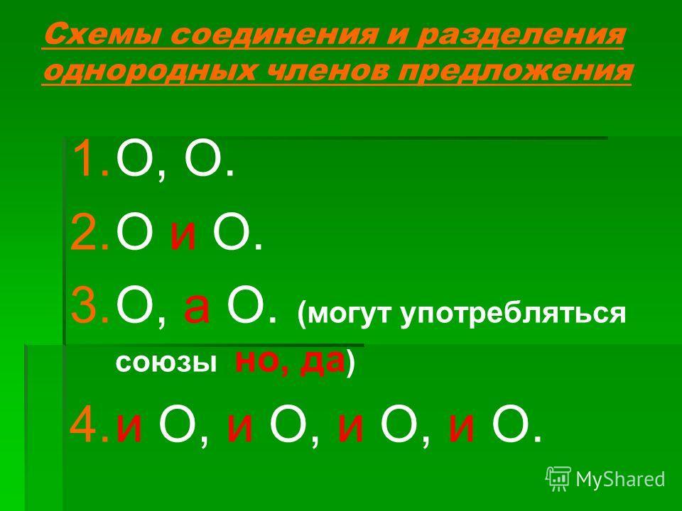 Схемы соединения и разделения однородных членов предложения 1. 1.О, О. 2. 2.О и О. 3. 3.О, а О. (могут употребляться союзы но, да ) 4. 4.и О, и О, и О, и О.