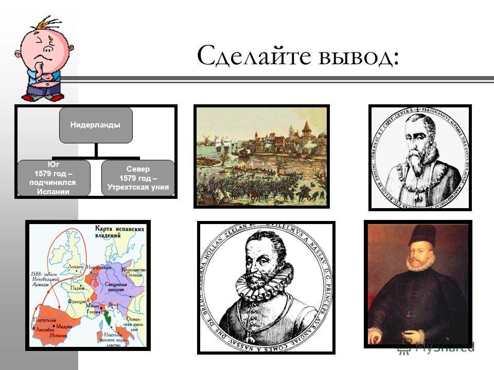 Сделайте вывод: Нидерланды Юг 1579 год – подчинился Испании Север 1579 год – Утрехтская уния
