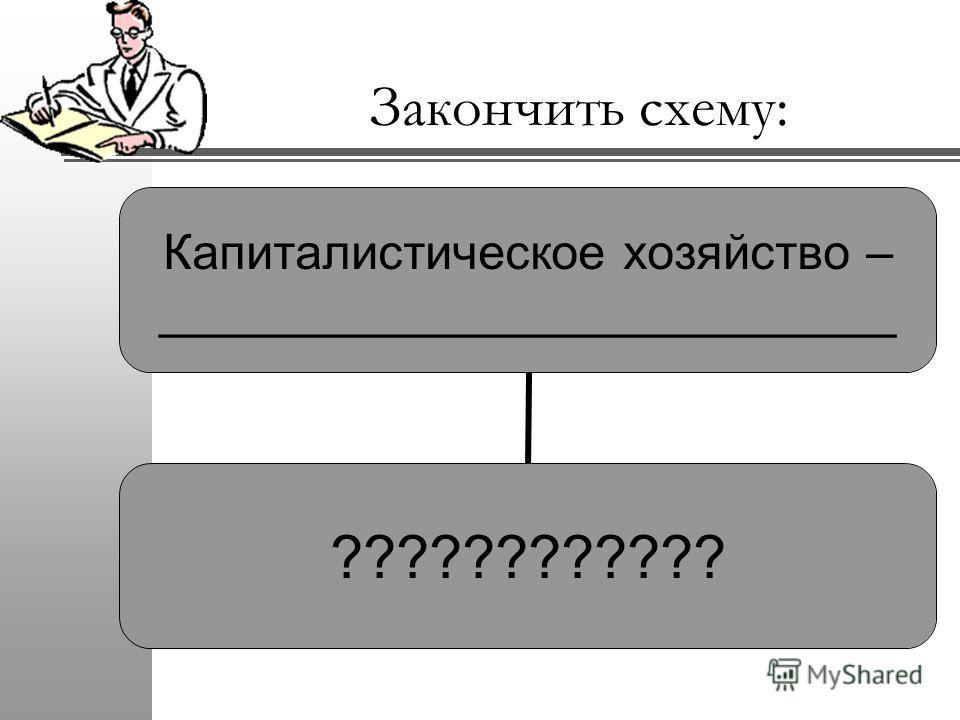 Закончить схему: Капиталистическое хозяйство – ___________________________ ????????????