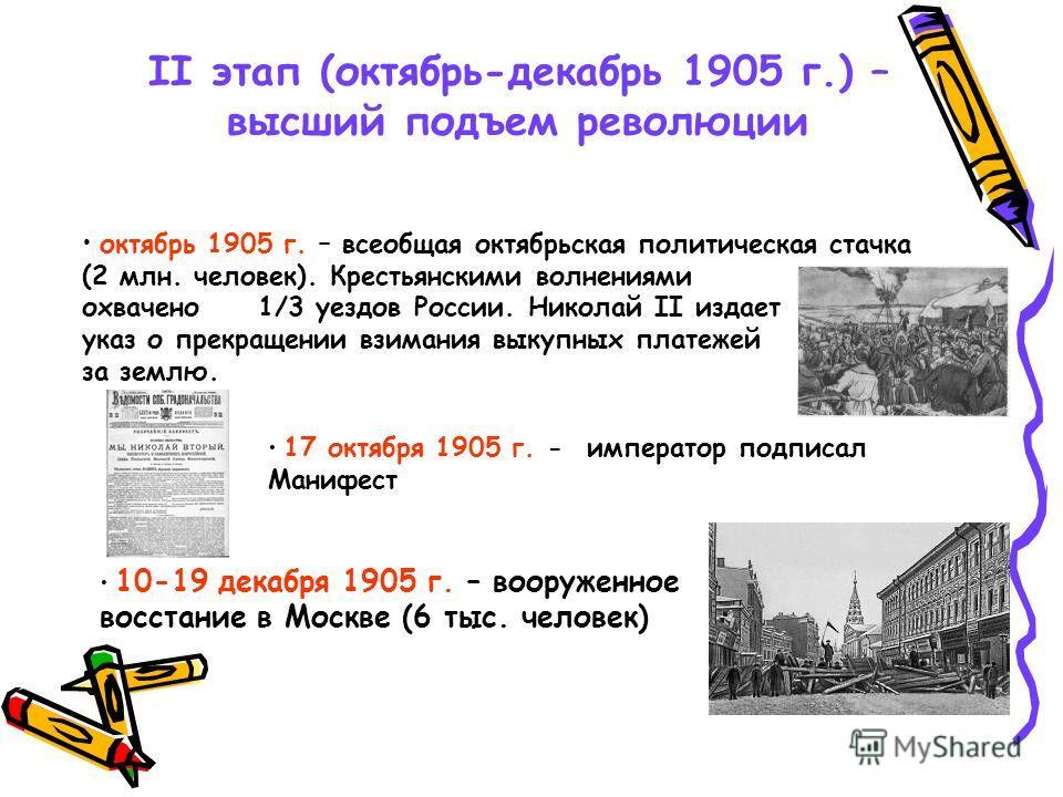 II этап (октябрь-декабрь 1905 г.) – высший подъем революции октябрь 1905 г. – всеобщая октябрьская политическая стачка (2 млн. человек). Крестьянскими волнениями охвачено 1/3 уездов России. Николай II издает указ о прекращении взимания выкупных плате