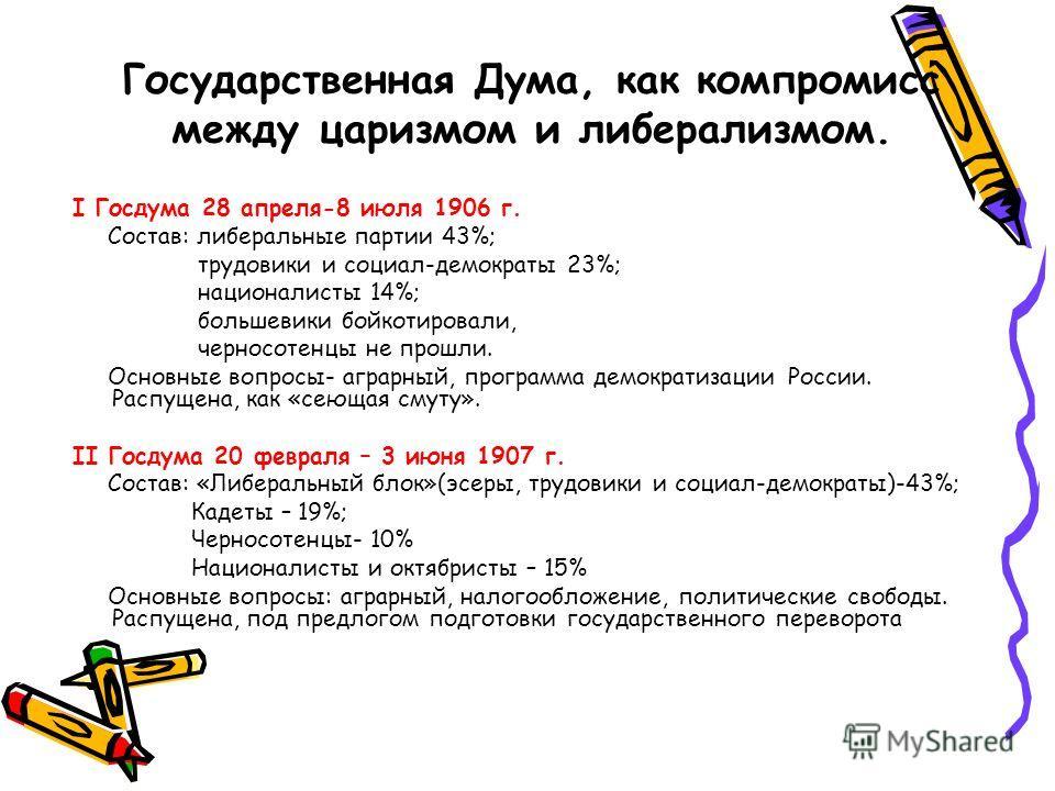 Государственная Дума, как компромисс между царизмом и либерализмом. I Госдума 28 апреля-8 июля 1906 г. Состав: либеральные партии 43%; трудовики и социал-демократы 23%; националисты 14%; большевики бойкотировали, черносотенцы не прошли. Основные вопр