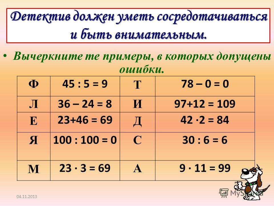 Детектив должен уметь сосредотачиваться и быть внимательным. Вычеркните те примеры, в которых допущены ошибки. 04.11.2013 Ф 45 : 5 = 9 Т 78 – 0 = 0 Л 36 – 24 = 8 И 97+12 = 109 Е 23+46 = 69 Д 42 ·2 = 84 Я 100 : 100 = 0 С 30 : 6 = 6 М 23 · 3 = 69 А 9 ·