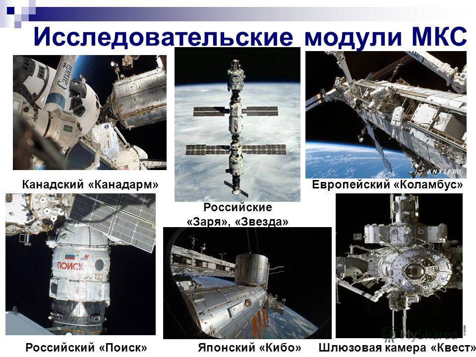Исследовательские модули МКС Японский «Кибо»Российский «Поиск» Канадский «Канадарм»Европейский «Коламбус» Шлюзовая камера «Квест» Российские «Заря», «Звезда»