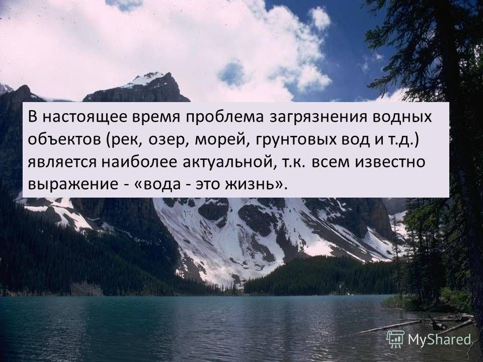 В настоящее время проблема загрязнения водных объектов (рек, озер, морей, грунтовых вод и т.д.) является наиболее актуальной, т.к. всем известно выражение - «вода - это жизнь».