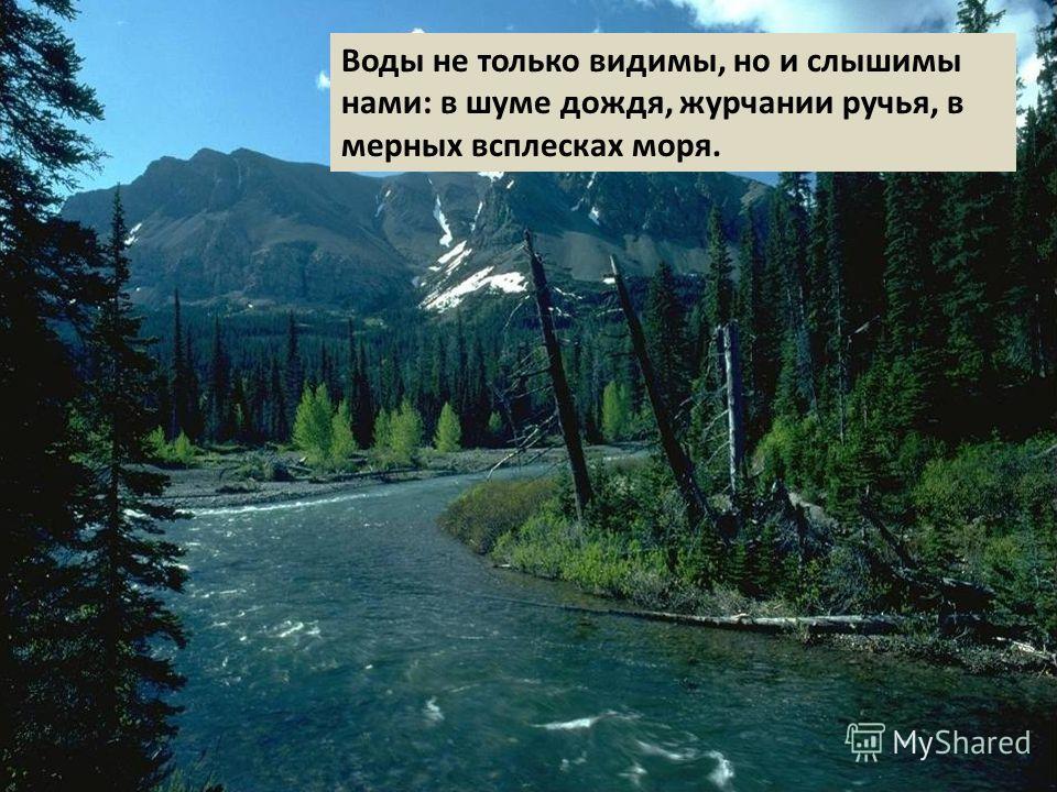 Воды не только видимы, но и слышимы нами: в шуме дождя, журчании ручья, в мерных всплесках моря.