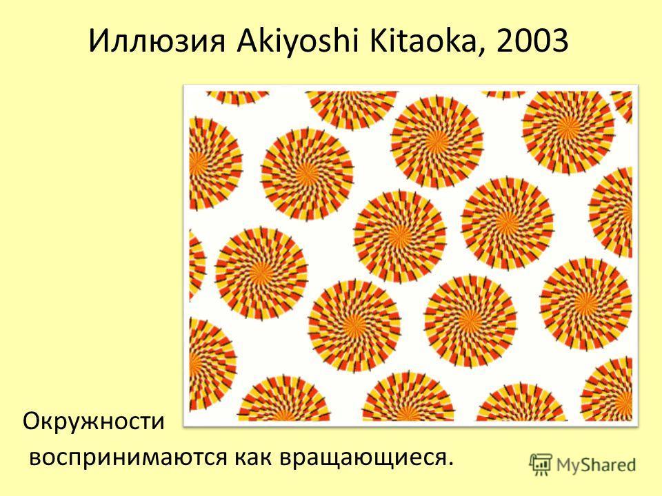 Иллюзия Akiyoshi Kitaoka, 2003 Окружности воспринимаются как вращающиеся.