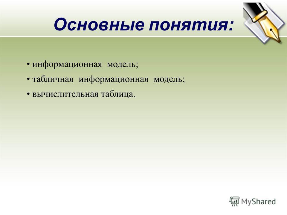 Основные понятия: информационная модель; табличная информационная модель; вычислительная таблица.
