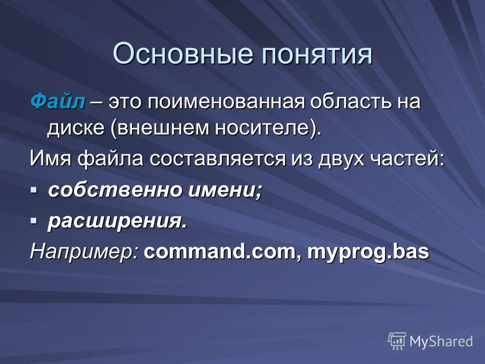 Файл – это поименованная область на диске (внешнем носителе). Имя файла составляется из двух частей: собственно имени; собственно имени; расширения. расширения. Например: command.com, myprog.bas