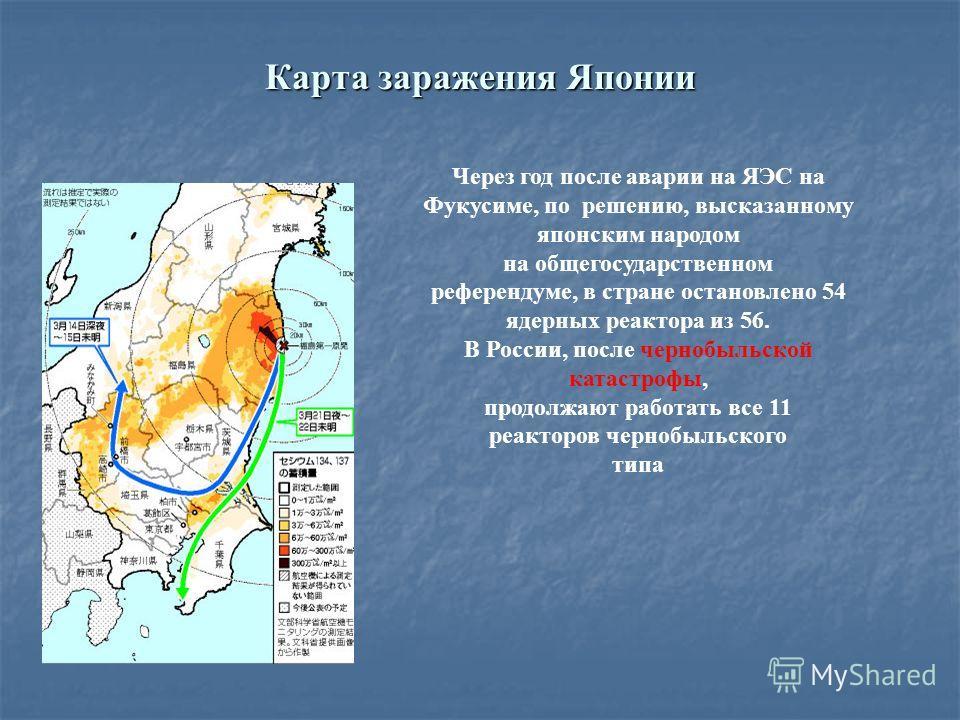 Карта заражения Японии Через год после аварии на ЯЭС на Фукусиме, по решению, высказанному японским народом на общегосударственном референдуме, в стране остановлено 54 ядерных реактора из 56. В России, после чернобыльской катастрофы, продолжают работ