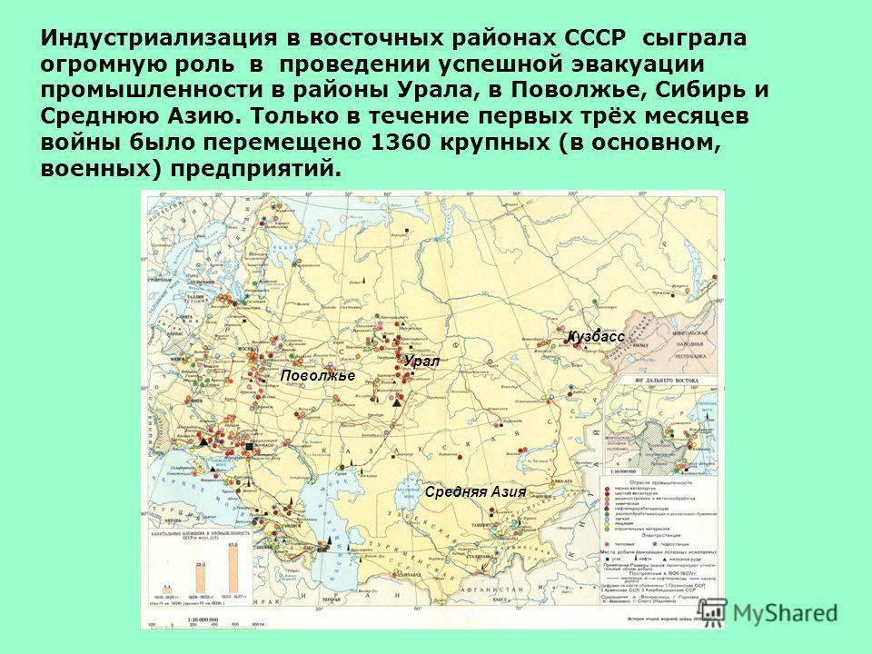 Индустриализация в восточных районах СССР сыграла огромную роль в проведении успешной эвакуации промышленности в районы Урала, в Поволжье, Сибирь и Среднюю Азию. Только в течение первых трёх месяцев войны было перемещено 1360 крупных (в основном, вое
