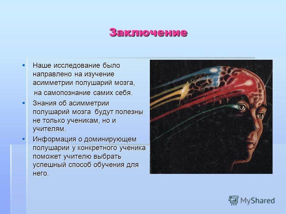 Заключение Заключение Наше исследование было направлено на изучение асимметрии полушарий мозга, Наше исследование было направлено на изучение асимметрии полушарий мозга, на самопознание самих себя. на самопознание самих себя. Знания об асимметрии пол