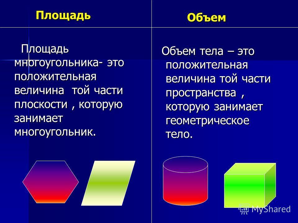 Площадь Площадь Площадь многоугольника- это положительная величина той части плоскости, которую занимает многоугольник. Площадь многоугольника- это положительная величина той части плоскости, которую занимает многоугольник. Объем Объем Объем тела – э