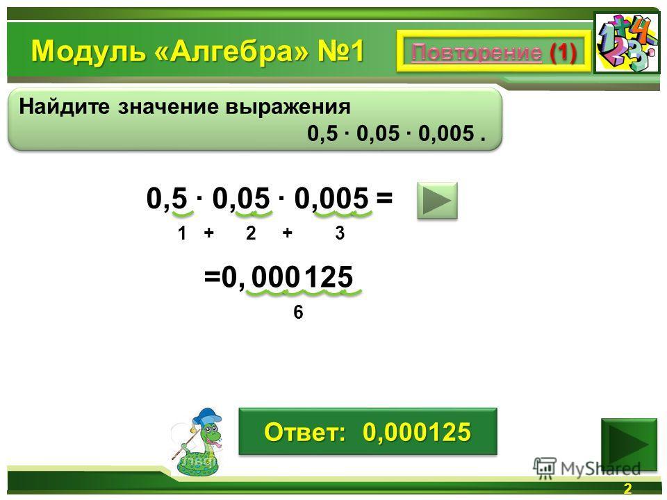 Модуль «Алгебра» 1 2 Найдите значение выражения 0,5 0,05 0,005. Найдите значение выражения 0,5 0,05 0,005. 0,5 0,05 0,005 = 125 1+2+3 6 000=0,