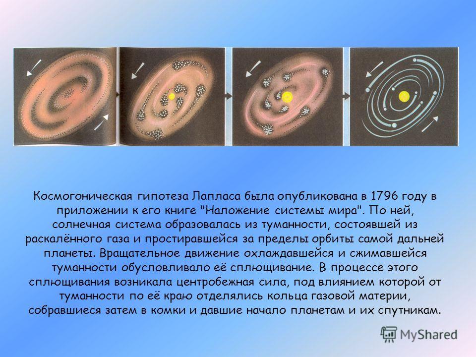 Космогоническая гипотеза Лапласа была опубликована в 1796 году в приложении к его книге