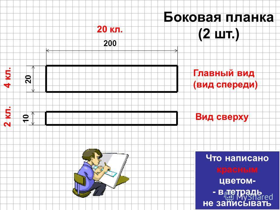 20 200 20 кл. 4 кл. Боковая планка (2 шт.) Что написано красным цветом- - в тетрадь не записывать Что написано красным цветом- - в тетрадь не записывать 10 2 кл. Главный вид (вид спереди) Вид сверху