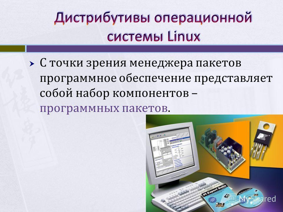 С точки зрения менеджера пакетов программное обеспечение представляет собой набор компонентов – программных пакетов.