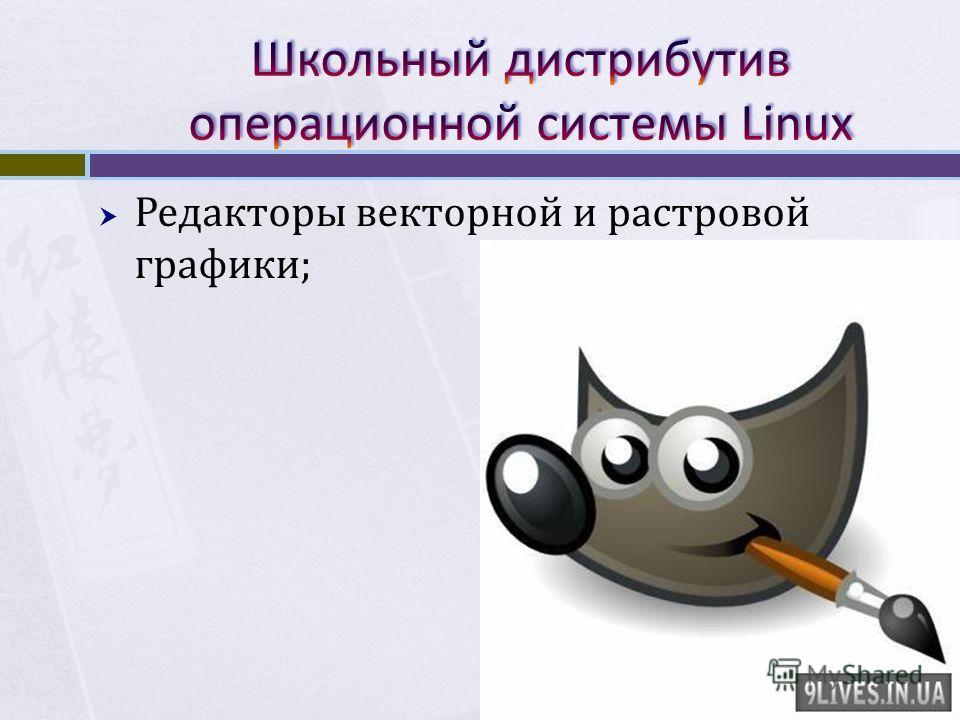 Редакторы векторной и растровой графики;