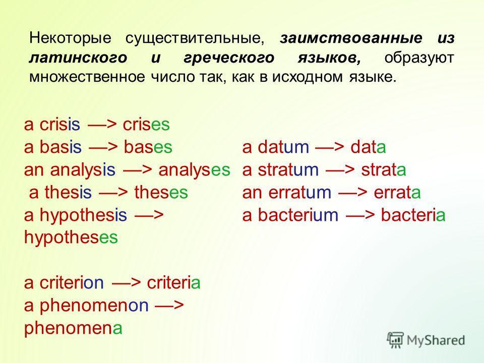 Некоторые существительные, заимствованные из латинского и греческого языков, образуют множественное число так, как в исходном языке. a crisis > crises a basis > bases an analysis > analyses a thesis > theses a hypothesis > hypotheses a criterion > cr